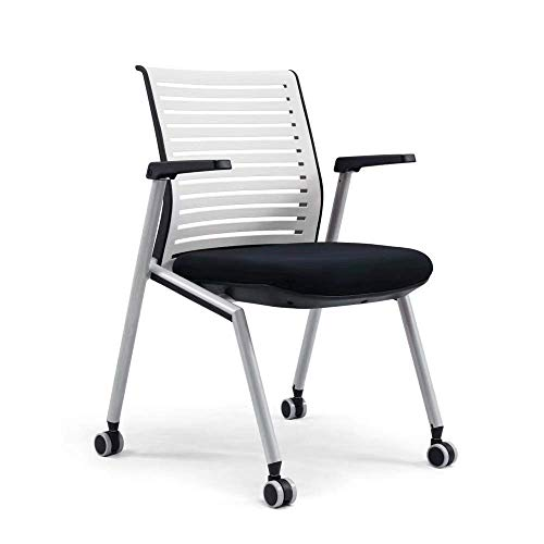 Training Chair Foldable Office Chair with Wheels Metal Foot Training Chair with Writing Board Folding Conference Chair High-Back Desk Chair