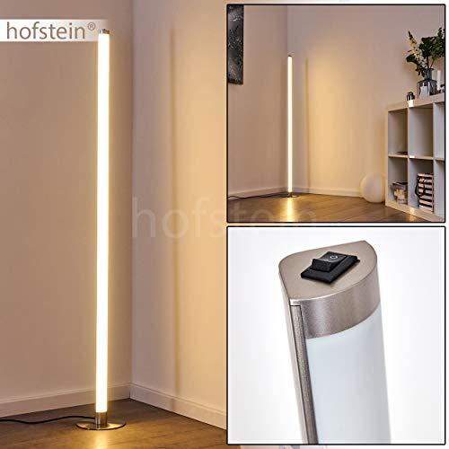LED Stehlampe Wila, Stehleuchte aus Metall in Nickel-matt, 1-flammig, 16 Watt, Höhe 131 cm, 1050 Lumen, Lichtfarbe 3000 Kelvin (warmweiß), moderne Standleuchte m. An-/Ausschalter am Gehäuse