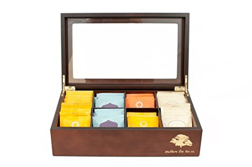 Southern Live Tea Company Deluxe 8 Compartment Wooden Tea Box Chest (Mahogany)