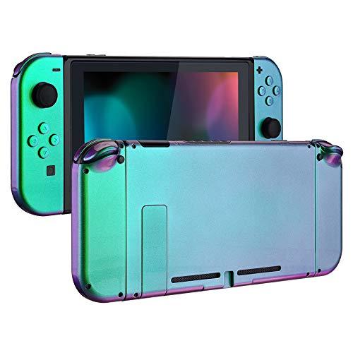 eXtremeRate Carcasa para Nintendo Switch,Funda Completa para Mando Controlador Consola Joy-con de Nintendo Switch Shell de Bricolaje reemplazable con Botón Completo (Verde a Violeta)