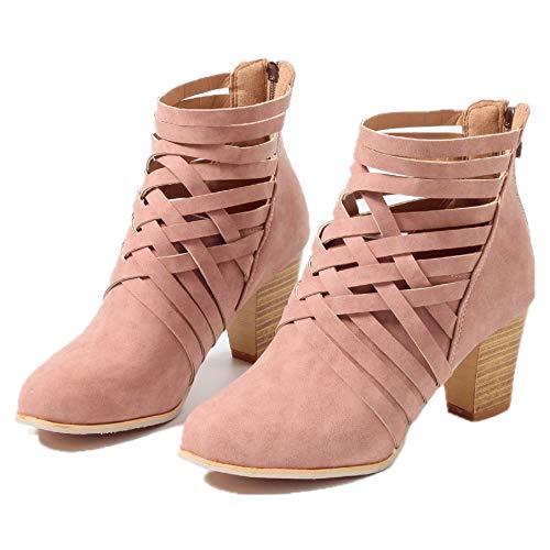 Damen Stiefel Mit Absatz, Leder Blockabsatz Kurzschaft Knöchel Stiefeletten Reißverschluss High...