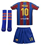 FC Barcelona Soccer Jersey Kids Youth Football Shirt with Socks Lionel Messi Name Birthday Gift for Boys Girls (9-10 Years) Blue
