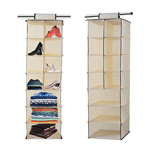 Hanging Wardrobe Storage, 7 Shelves Hanging Wardrobe Storage Organiser for Sweaters, Shoes, Clothes Hanging Closet Organizer Set- Black