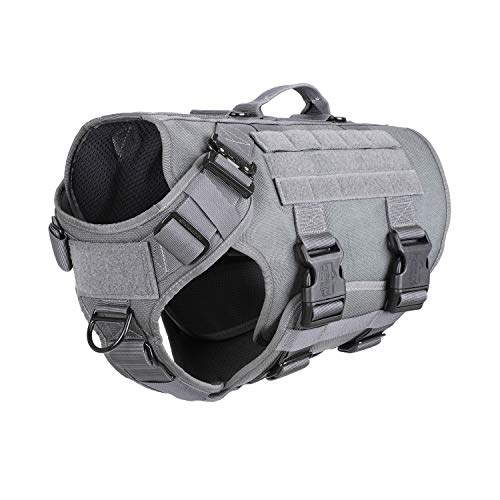 ICEFANG Tactical Dog Operation Harness with 6X Buckle,Dog Molle Vest with Handle,3/4 Body Coverage,Hook and Loop Panel for ID Patch,No Pulling Front Clip (L (28'-35' Girth), Wolf Gray)
