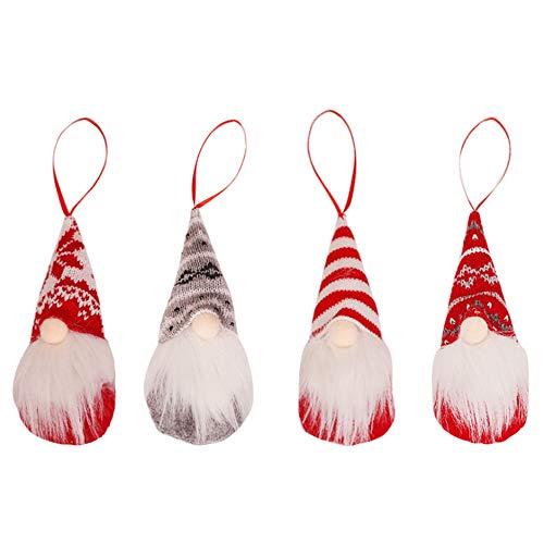 Wyi - Confezione da 12 gnomi da appendere all'albero di Natale, a forma di gnomo da elfo, a forma di Babbo Natale, decorazione da appendere per albero di Natale, decorazione da parete per la tavola