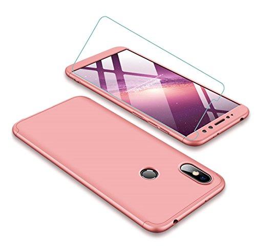 JOYTAG compatibles para Funda Xiaomi Redmi S2 360 Grados Caja 3 en 1 PC Case + Protectora de película de Vidrio Templado-Oro Rosa