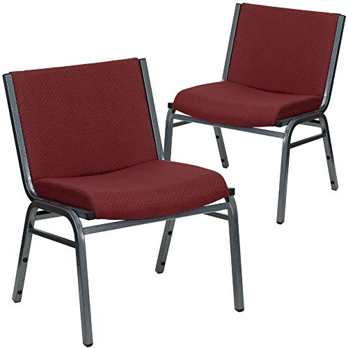 Flash Furniture 2 Pack HERCULES Series Big & Tall 1000 lb. Rated Burgundy Fabric Stack Chair
