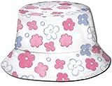 Sombreros de Cubo Transpirables con Parte Superior Plana Unisex Sombrero de Cubo de Comida Vegana Saludable Sombrero de Pescador de Verano-Flores de Acuarela pintadas a Mano-Talla única