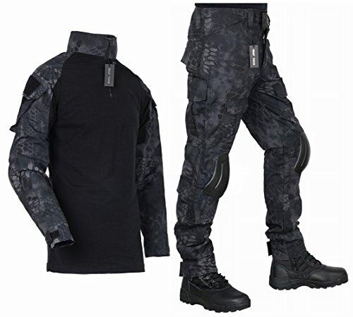 [HEAT VOICE] サバゲー コンバット 迷彩服 戦闘服 長袖 上下セット 日本人サイズ エルボーパッド ニーパッド付き (XL, タイフォン(黒))