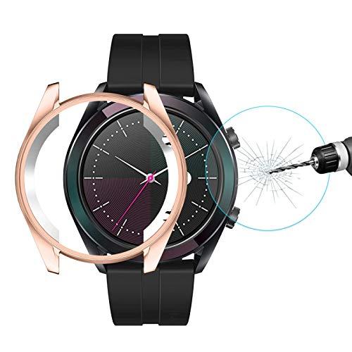 LVDHFUIASDFEFEE Nueva Shell Watch para Huawei Reloj Elegante GT 42mm Sombrero-Prince 2 en 1 Cobertura Completa electrochapa Caso de TPU 0,2 mm 9H 2.15D de Borde Curvado de Vidrio Templado de Cine