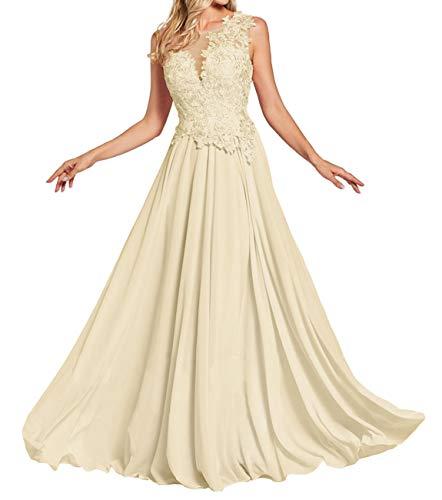 JAEDEN Ballkleider Lang Abendkleider Brautjungfernkleid Chiffon Damen Hochzeitskleider mit Applikationen Champagner EUR34
