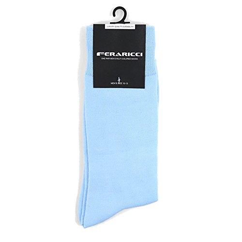 Men's Contemporary Luxury Solid Crew Dress Socks (Light Blue)