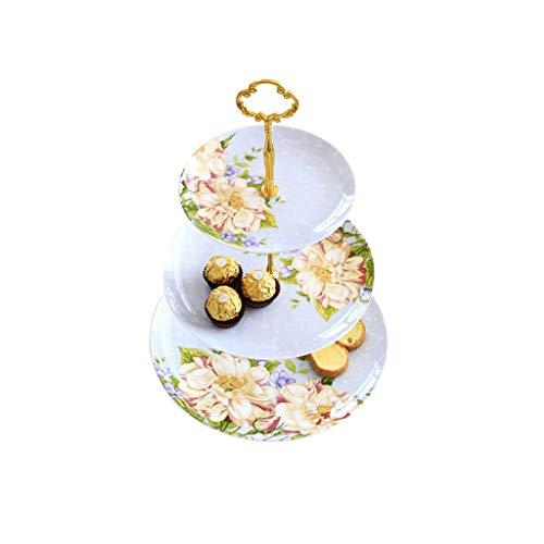 Strawberry Three-layer Fruit Stand-bone Porcelain Cake Holder, Hall Snack Fruit Bone Tea Set, Cake Dish Decoration