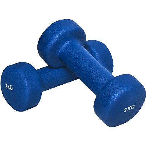 GORILLA SPORTS® Kurzhantel-Set Vinyl 1-10 kg für Gymnastik, Aerobic, Pilates Fitness – 2er-Set 4 KG