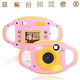 VBESTLIFE Macchina Fotografica dei Bambini, 1.8'Mini Regalo della Macchina Fotografica del Giocattolo della videocamera Digitale Creativa HD con Il Disegno di Gomma Molle per i Bambini(Rosa)