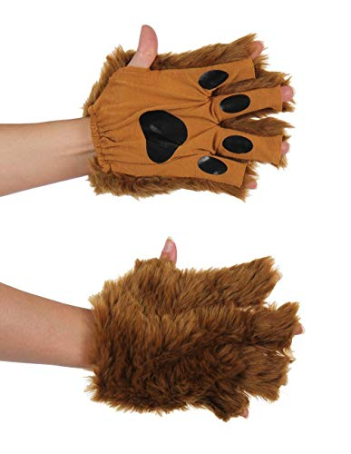 Brown Bear Dog Wolf Costume Fingerless Paws for Adults and Kids