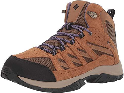Columbia Women's Crestwood Mid Waterproof Hiking Shoe, Dark Truffle, Plum Purple, 8.5 Regular US