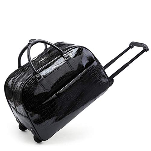 Craze London New Ladies Travel Holdall Bags Hand Luggage Womens Faux Leather Cabin Luggage Bag Design Weekend Wheeled Trolley Bags (Shine Black)