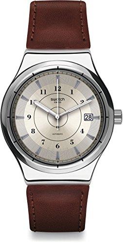 Swatch Orologio Analogueico Automatico Uomo con Cinturino in Pelle YIS400