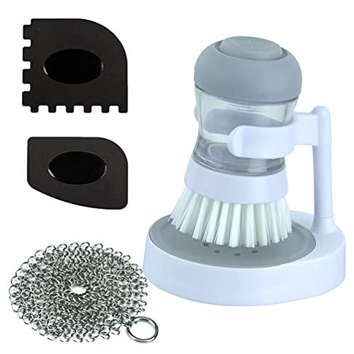 Gmili Juego de cepillos - Cepillo Redondo con dispensador de jabón Incluye 4 Inch Depurador de Malla de Acero Inoxidable + 2 Rascadores de Plástico para Fregar Platos, Lavar ollas y Cubiertos