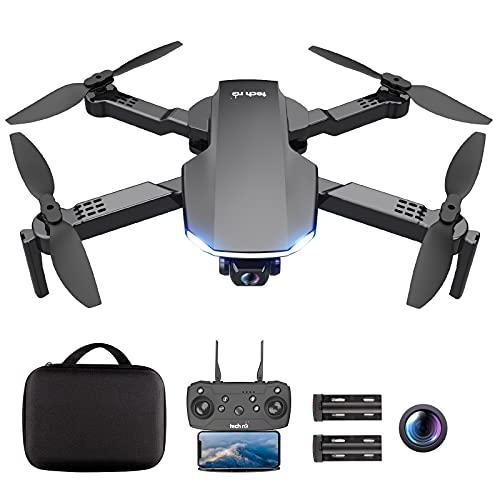 tech rc Dron Con Cámara 1080P, WiFi FPV, Dron Plegable Profesional Con Control Remoto de 4 Rotores, Modo Sin Cabeza, Vuelo Ruta Personalizada, Operación Simple, Adecuado Para Principiantes y Jovenes