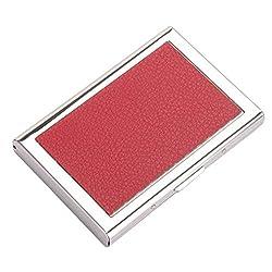 HONB Slim Kreditkartenetui mit RFID-Block-Technologie – Visitenkartenhalter für Männer und Frauen – Kreditkartenschutz gegen Geldbetrug und Identitätsdiebstahl, Rot - Red Leather - Größe: Small