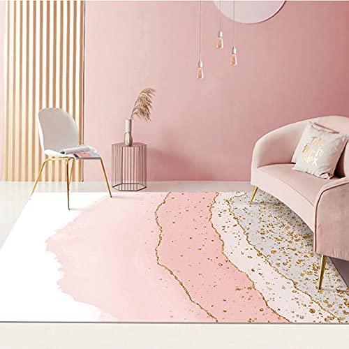 Xushiwanju Alfombra de área Alfombra luz de Lujo Moderno nórdico Grande Sala de Estar Alfombra 3D impresión Rosa Oro Abstracto Colorido Dormitorio Cocina Alfombra Personalizado casa Protege el Suelo