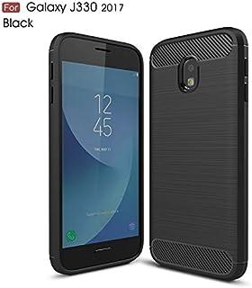 For Samsung Galaxy J3 Pro 2017 J330 Ultra Light Carbon Fiber Armor ShockProof Brushed Silicone Grip Phone Case -case (Color : Black)