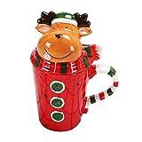 Naisidier Christmas tazza in ceramica Cup cute 3-demensional animal-shape latte Coffee Cup innovative Cartoon modello Cup con copertura giardino casa cucina decorazione natalizia