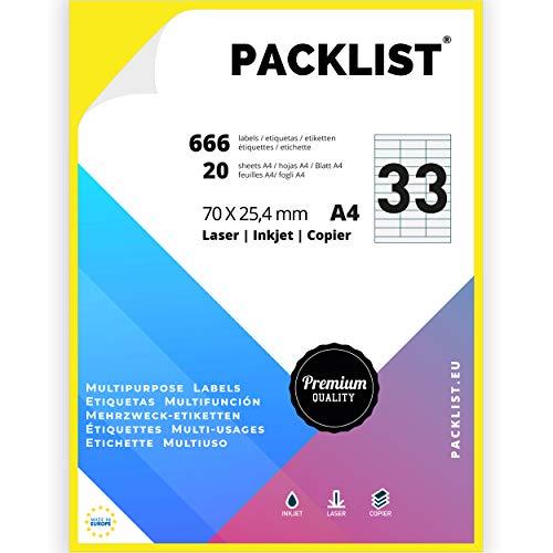 PACKLIST 666 Etiquetas Adhesivas A4 Blancas 70 x 25,4 mm. 20 Hojas Papel Pegatina para Imprimir A4, 33 Etiquetas por Hoja - Papel Adhesivo para Imprimir - Papel de Pegatina para Imprimir Premium
