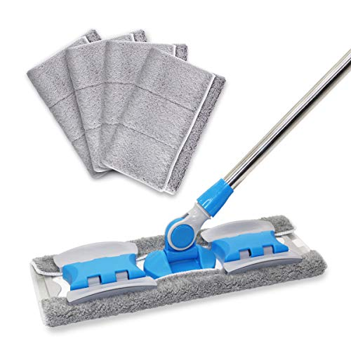 MAYSHINE Microfiber Hardwood Floor Mop - 5 Washable & Reusable Flat Mops Cloths/Pads, for Wet or Dry...