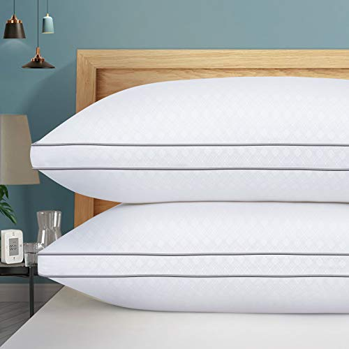 Queen Pillow Hotel Quality Down Alternative Hypoallergenic Pillow HOTOZON Bed Pillows for Sleeping 2 Pack Plush Fiber Fill Soft and Supportive Gusseted Pillow for Back Side Sleepers