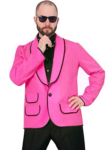 KarnevalsTeufel Kostüm Jacke neon pink mit schwarzen Akzenten für Herren, Jackett, Sakko | Karneval, Junggesellenabschied, Festival (XL)