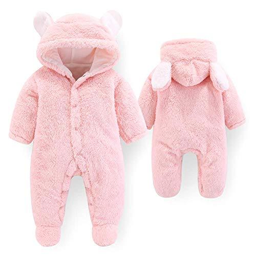 Letuwj Newborn Baby Cartoon Cute Bear Ear Fleece Hooded Snowsuit Winter Coats Pink 59cm