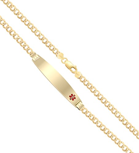 US Jewels And Gems Customizable Ladies 14k Yellow Gold 4mm Curb Medical Alert ID Bracelet with Free Engraving, 8in