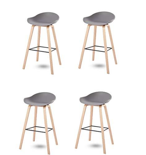 N/A Conjunto de 4 mostradores de Cocina taburetes de Bar sillas de PP, taburetes de Bar en casa Patas de Metal taburetes de Bar (Gris)