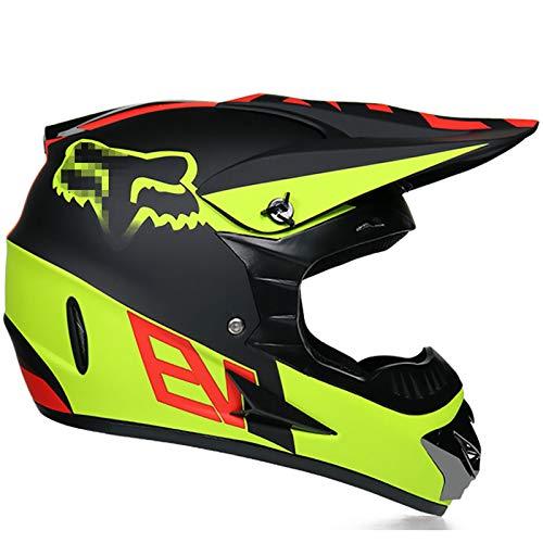 Super-ZS Casco De Motocross para Adultos, con Gafas Protector Facial Guantes Negro Amarillo Patrón Fox Forro Interior Extraíble Y Lavable Conjunto De Casco Integral Certificación Dot