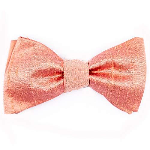 Handgenähte Herren Anzug - Fliege in leicht glänzendem Rosa zum Selbstbinden - Querbinder aus Dupionseide