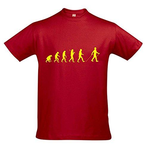 T-Shirt - EVOLUTION - Nordic Walking Sport FUN KULT SHIRT S-XXL , Red - gelb , XL