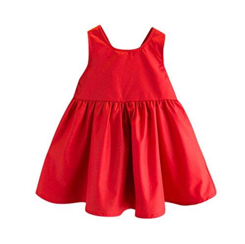Hirolan Bekleidung Kleinkind Baby Taufbekleidung Mädchen Outfit Bowknot Festzug Party Prinzessinenkleid Einteiler Blumenrock Tutu-Tüll-Kleid Ärmelloses Neugeborene Kleidung (90cm, Rot)