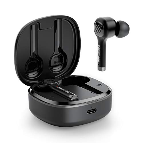 POWERADD Écouteurs Bluetooth V5.0 sans Fil Intra Auriculaire Stéréo Oreillettes IPX7 Microphones Intégrés et l'Étui de Chargement Portable Compatible avec iPhone 12 Huawei Samsung Xiaomi