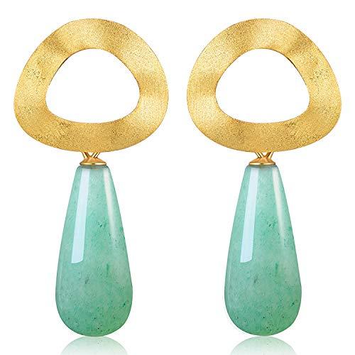 Lotus Fun S925 Sterling Silber Ohrringe Minimalistischer Stil Ungleichmäßig Geometrische Figur Ohrringe Natürlicher Edelstein Persönlichkeit Temperament Handgemacht Schmuck für Frauen