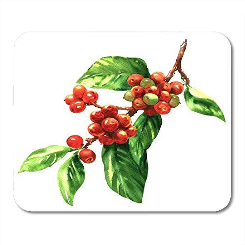 Mauspads Baum Grüne Frucht Roter Kaffee Arabica Bohnen auf Zweig Aquarell Weißes Pflanzenblatt Mauspad für Notizbücher, Desktop-Computer Mausmatten, Büromaterial