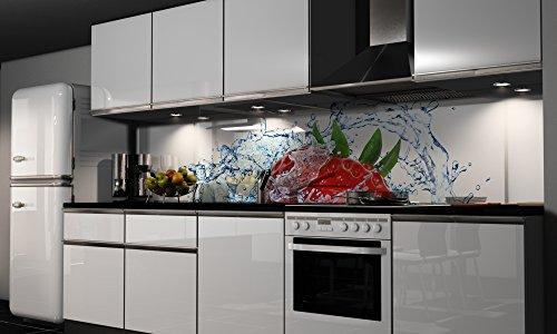 Küchenrückwand-Folie Erdbeere Klebefolie Spritzschutz Küche Fliesenspiegel Möbel Rückwand selbstklebend | mehrere Größen