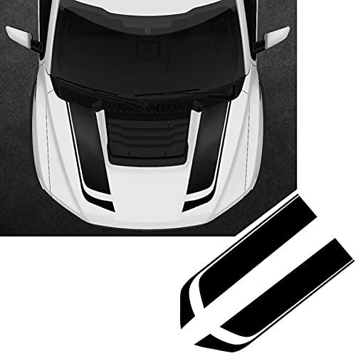 RUKAIYOR Car Hood Stripe Sticker 2PCS Auto Racing Body Side Decal Vinyl Modified Stripe Sticker Decoration Universal Style 1 Black