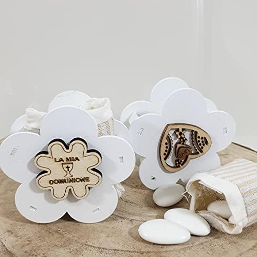 24 scatoline porta confetti fiore in legno con quadrifoglio'la mia Comunione' - Bomboniera...
