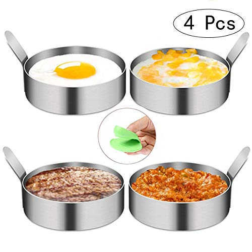 FADANY Ei Ring Antihaft-Spiegeleiform aus Edelstahl für gebratene Fleischpastete, pochierte Eier, Mini-Kürbiskuchen, Egg rings mit hitzebeständigem Fingerstall (4 Packungen)