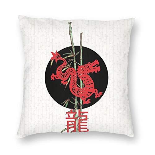 Meius Drache (Chinesisches Sternzeichen) Samtweicher dekorativer quadratischer Kissenbezug Kissenbezug für Wohnzimmer Sofa Schlafzimmer mit unsichtbarem Reißverschluss 50,8 x 50,8 cm