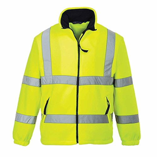Portwest High Visibility Fleece Jacket Polyester Zip-pockets Extra Large Yellow Ref F300XLGE