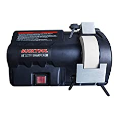 120V/60Hz,0.7Amp motor Wheel size: 4-1/2 inch dia. x 1-1/2 inch width x9/16 inch arbor. 120 grit wet/dry sharpening stone Two sizes adjustable cast AL work rest Two sharpening directions for more convenient use Forward and reverse switch with a dust ...